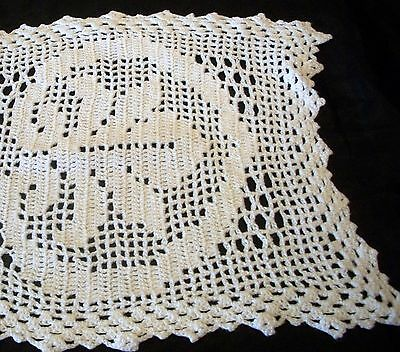 Vintage White Cotton Hand Crochet Filet Lace Table Centre Doily