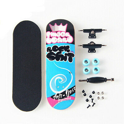Blue Complete Wooden Fingerboard Finger Skate Board Grit Foam Tape Maple Wood