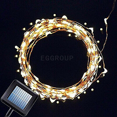 1X Warm White 100LED Solar Powered Fairy String Lights Garden Christmas Outdoor