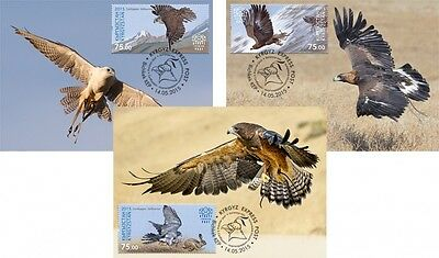 Z08 KYR15108a_PC KYRGYZSTAN 2015 Eagle and Falcons Postcards