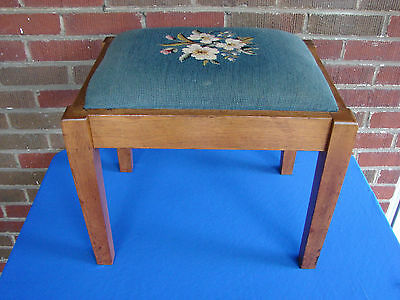 Walnut Needlepoint Foot Stool Bench Made