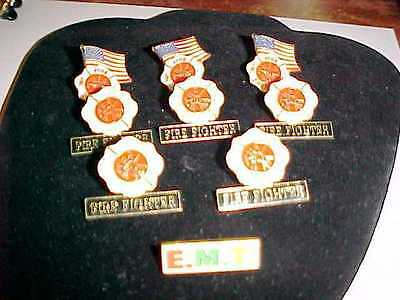 LOT OF 8  Fire Fighter  Maltese Cross Lapel OR Hat Pin  1-EMT PIN ALL W/PIN BACK