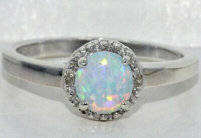 6mm Opal & Diamond Round Ring .925 Sterling Silver