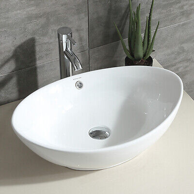 Oval White Bathroom Porcelain Ceramic Vessel Sink Bowl Chrome Faucet Basin Combo