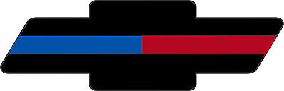 "Thin Blue and Red Line Chevrolet 6"" x 2"" Exterior REFLECTIVE window Decal"