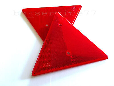 2x Triangular Red Reflectors Triangle Pair for SCANIA MAN VOLVO DAF RENAULT