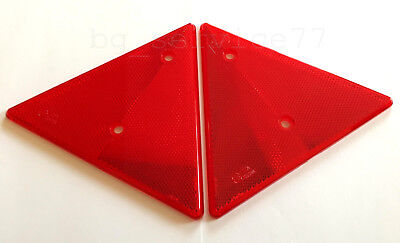 2x Triangular Red Reflectors Triangle Pair forTruck Trailer Tipper Chassis Motor