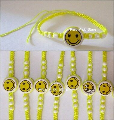 60 FRIENDSHIP BRACELETS with SMILEY FACE, handmade