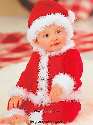 (314) Knitting Pattern for Baby Santa Suit - Jacket, Trousers, Hat, 16-22''