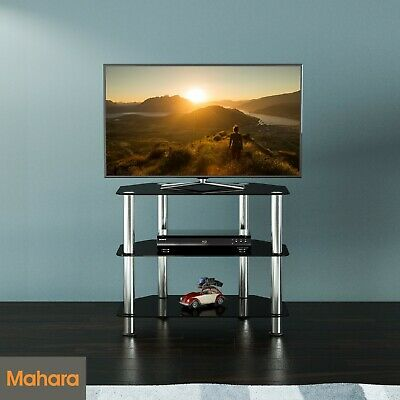 """Black Gloss Glass Small TV Stand 60cm Wide, Suitable For LCD LED TVs Up to 32"""""""