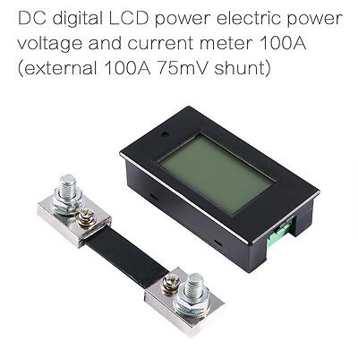 New DC 100A LCD Voltage Current Monitor Panel Power Energy KWh Watt Combo Meter