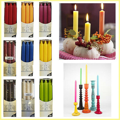 6 Non Drip Table Candles Wax Pillar Dinner Party Decoration Light Home Decor NEW