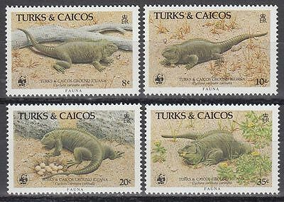 Turks & Caicos 1986 ** Mi.777/80 Tiere Animals Leguan WWF [sq5859]