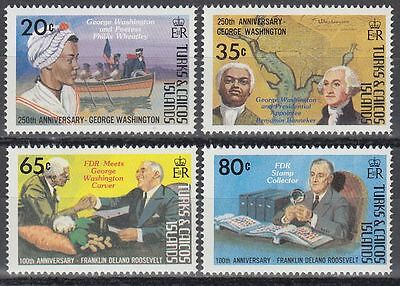 Turks & Caicos 1982 ** Mi.589/92 Washington Roosevelt Politicians [sq5875]