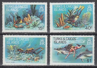 Turks & Caicos 1981 ** Mi.549/52 Fische Fish Tauchen Diving [sq5876]