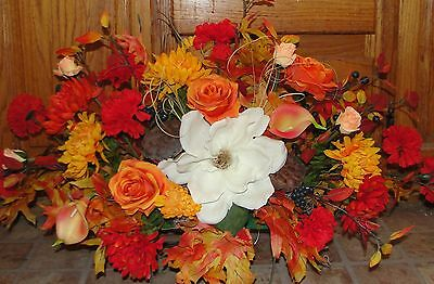 Fall Colors Roses Magnolia Memorial Cemetery Grave Tombstone Saddle Silk Flowers