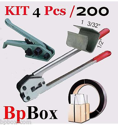 "Strapping Poly Crimper +Tensioner and Cutter 1/2""  to 5/8"" +200 + Poly kit4 pcs"