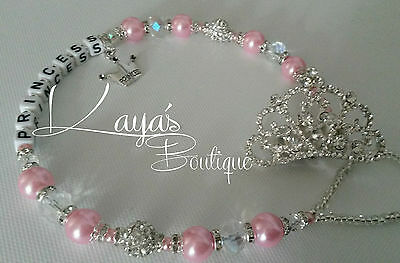 Bling *Diamante&Pearl Crown* Shamballa Romany Dummy Clip -Any Name-Pink/Ivory