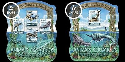 Z08 MOZ15225ab MOZAMBIQUE 2015 Prehistoric water animals Dinosaurs MNH SET