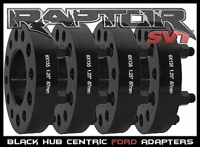 """4 Pc Ford F-150 Black 1.25"""" Hub Centric Wheel Spacers Adapters Raptor Expedition"""