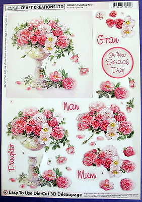 "A4 Die Cut 3D Paper Tole Decoupage ""tumbling Roses"" Sheet No Cutting Easy Dcd607"
