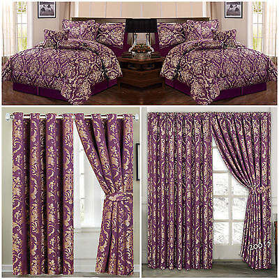 Jacquard, Luxury 7 Piece (Purple) Comforter Set,Bedspread with matching Curtains