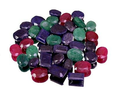 259ct / 37pcs Natural Emerald Sapphire Ruby Ring Size Gemstone Wholesale Lot