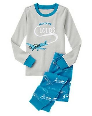 NWT Gymboree Airplanes Planes Head in the Clouds Gymmies Sleep Set Pajamas 8 10