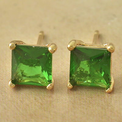 New 9K Solid Yellow Gold Filled 7mm Emerald Green Square Cut CZ Stud Earrings