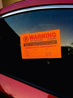New 5 Pack!!! Free Ship! Violation Stickers No Parking Illegally Towing Warnings