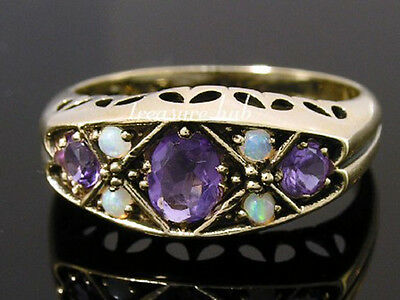 C1019 Genuine 9ct Yellow Gold Natural AMETHYST & OPAL Bridge Ring in your size