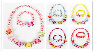 Girl Kids Toddlers Colorful Round Beads & Mickey Mouse Beads Necklace Bracelet