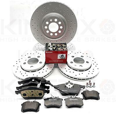 Vw Bora Golf MK4 2.8 V6 Kinetix Front Rear Grooved Brake Discs And Brembo Pads