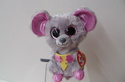 """TY NEW Beanie Boo 6"""" Cute Mouse Holding Cheese SQUEAKER(36192)"""