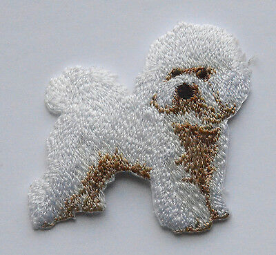Bichon Frise Embroidered Motif Iron/Sew On Patch Badge Dog Embroidery
