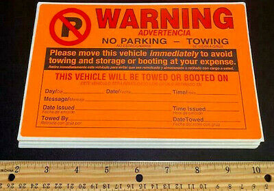 Lot Of *50* (Best Deal!!) Violation No Illegal Parking Tow Sign Warning Stickers