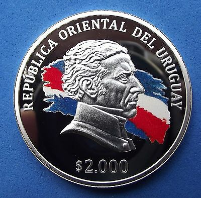 2015 URUGUAY 2000 PESOS Bicentenary Lands Law - 1st ENAMELED SILVER COIN - NEW !