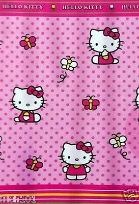Hello Kitty Fabric Shower Curtain Polka Dotted