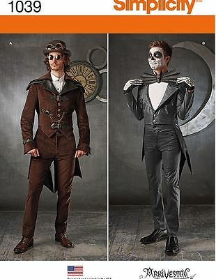 PATTERN SIMPLICITY 1039 Men's SteamPunk Coat With Tails Jack Skellington 38 - 52
