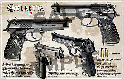 "Beretta Mod. 92F poster on semi gloss paper 11""x17"""