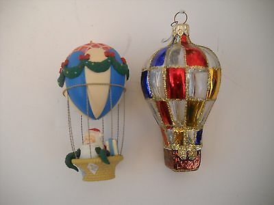 Two Hot Air Balloon Christmas Ornaments
