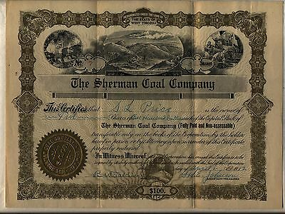 The Sherman Coal Company Stock Certificate West Virginia