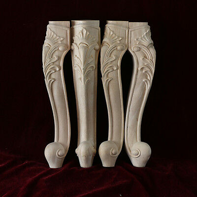 4 Pcs Hand-Carved wood Cabinets table bases feet leg Corbel Onlay
