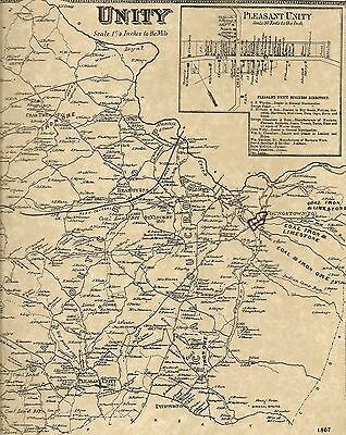 Pleasant Unity Youngstown Crabtree Beatty PA 1867 Maps Landowners Names Shown