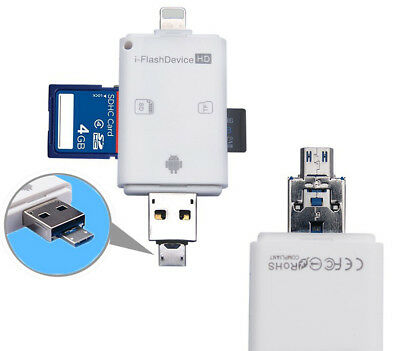 3in1 OTG Micro SD TF Card Reader For iPad iPhone 7 6S 6 Plus 5S 5 Android IOS