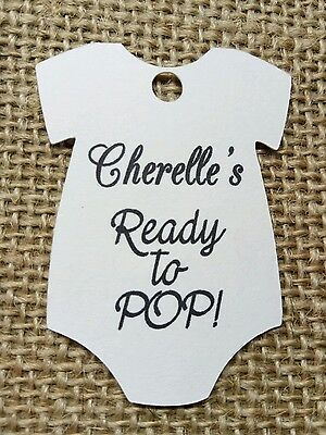 25x Personalised Baby Shower Tags Vest Ready to POP!
