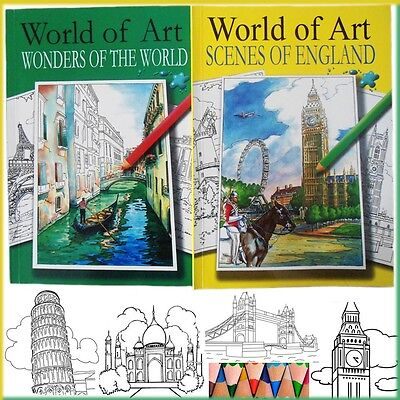 2 x Adult Colouring Books World of Art Doodle Design England Wonders Of World