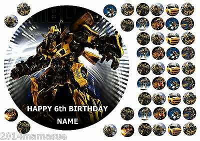 Bumblebee Transformers 11 Round Edible Cake Topper Cupcake Toppers Rice Paper