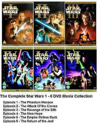 Star Wars Complete Collection Dvd Set Episode Part 1 2 3 4 5 6 All Movie Film Uk