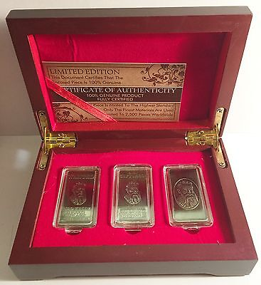 """NED KELLY"" Set Of 3 x 10grm Ingots With Display Box HSE 999 Silver Antique LTD"